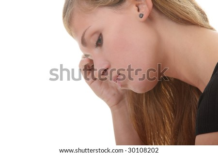 Beautiful young woman depressed - isolated on white background - stock photo