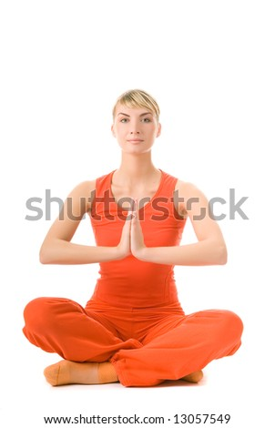 Beautiful young woman doing yoga exercise isolated on white background - stock photo