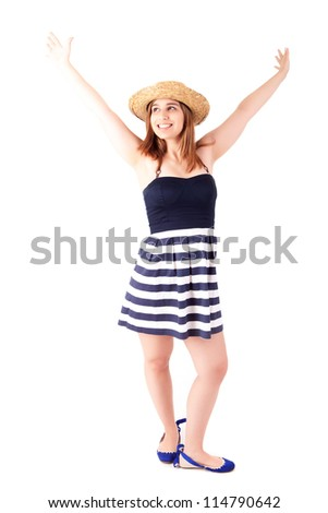 Beautiful young woman dressed for summer