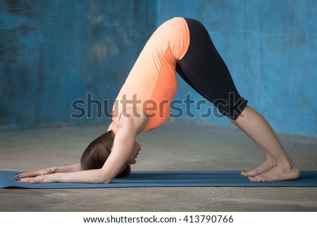 Beautiful young woman dressed in bright sportswear enjoying yoga indoors. Yogi girl working out in grunge interior with blue wall. Stretching in Dolphin Pose. Full length - stock photo