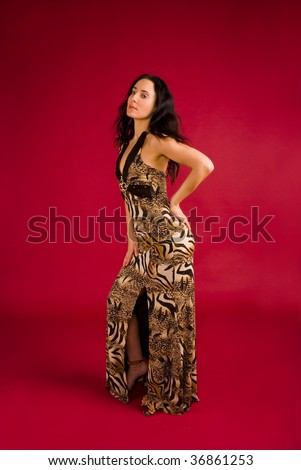 Beautiful young woman dressed in evening dress - stock photo