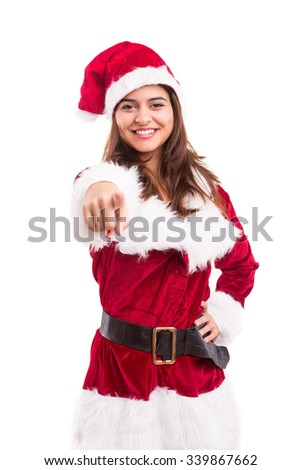 Beautiful young woman dressed with christmas costume, isolated over white