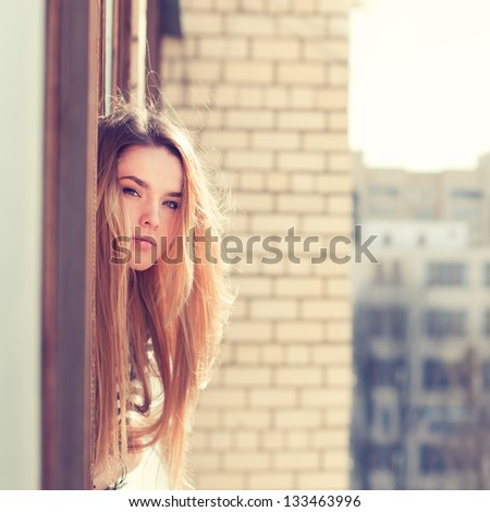 beautiful young woman enjoying the freshness - stock photo