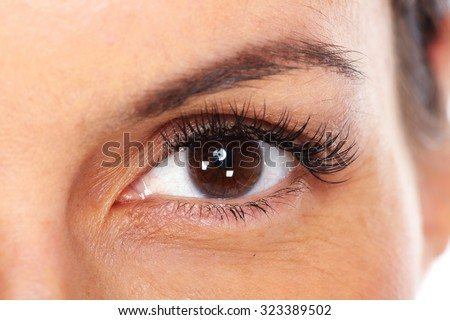Beautiful young woman eyes isolated white background. - stock photo