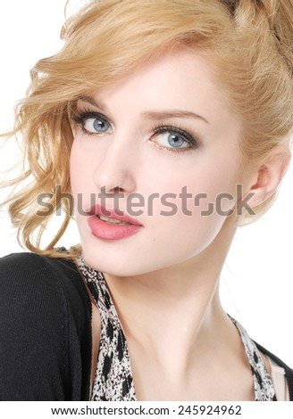Beautiful Young Woman Face - stock photo