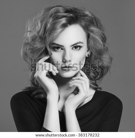 beautiful young woman. fashion monochrome portrait of beauty girl - stock photo