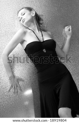 Beautiful young woman front bright background