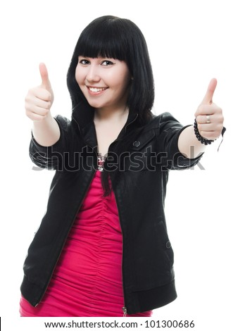 Beautiful young woman giving two thumbs up, isolated on white