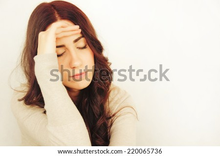 Beautiful Young Woman Having Headache - stock photo