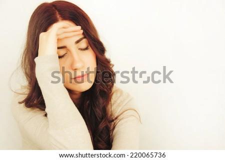 Beautiful Young Woman Having Headache - stock photo