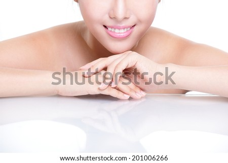 Beautiful young woman health teeth and smile close up with copy space. Isolated over white background, asian beauty - stock photo