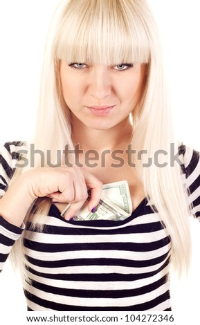 Beautiful young woman hiding cash