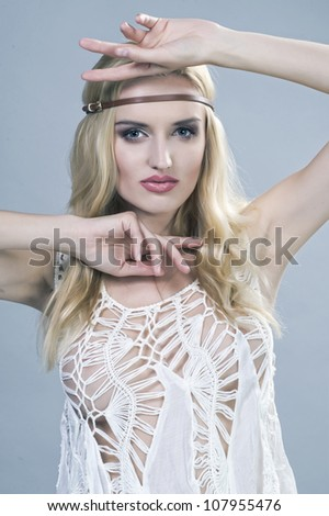 Beautiful young woman hippie - stock photo