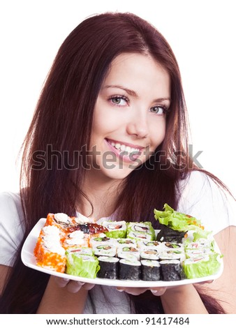 beautiful young woman holding a plate with sushi, isolated against white background - stock photo