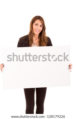 Beautiful young woman holding a white card - isolated over white - stock photo