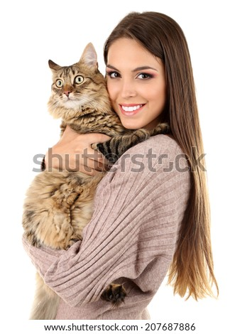 Beautiful young woman holding cat isolated on white - stock photo