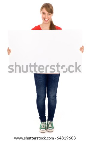 Beautiful young woman holding placard - stock photo