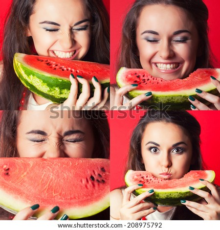beautiful young woman holding watermelon against red background, collage - stock photo