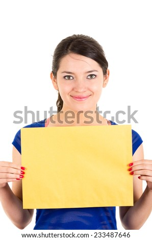 beautiful young woman holding yellow blank sign card copy space advertisement isolated on white - stock photo