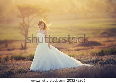 beautiful young woman in a wedding dress - stock photo