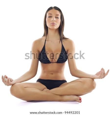 Beautiful Young Woman in Bikini Practice Yoga Meditation - stock photo