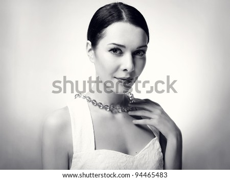 beautiful young woman in Black & White, studio shot