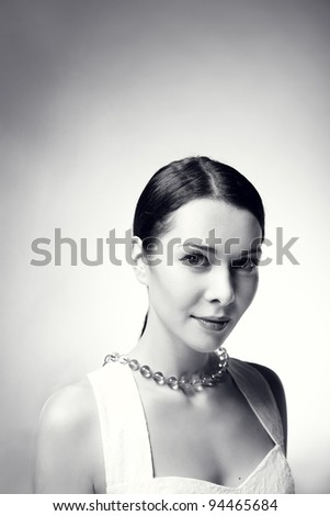 beautiful young woman in Black & White, studio shot - stock photo