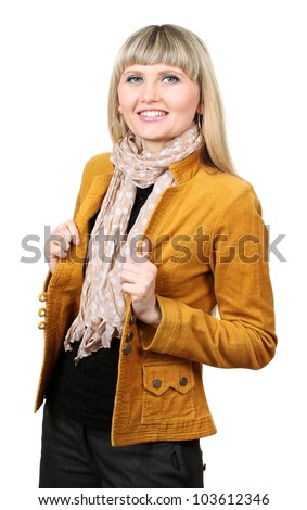 Beautiful young woman in bright jacket isolated on white