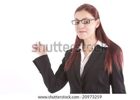 Beautiful young woman in business attire waving her hand - stock photo