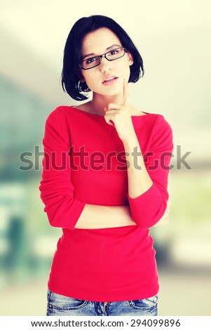 Beautiful young woman in casual clothes. - stock photo