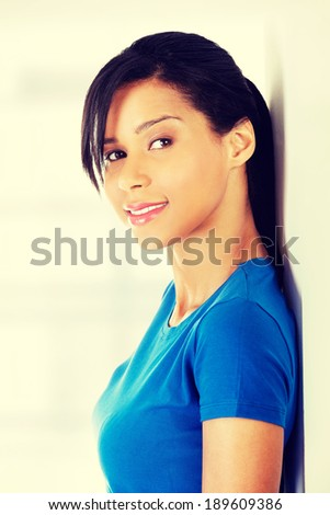 Beautiful young woman in casual clothes portrait.