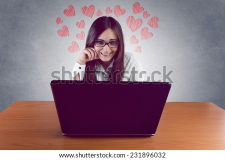 Beautiful young woman in distance relationship  - stock photo