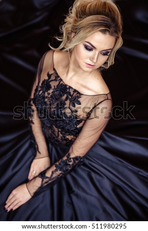 Beautiful Young Woman Gorgeous Black Evening Stock Photo & Image ...