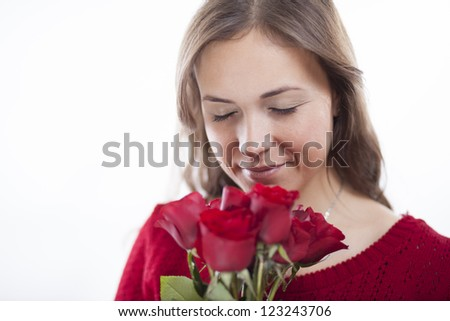 Beautiful young woman in love - stock photo