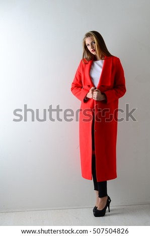 Young Woman Red Coat Axe Hands Stock Photo 244896016 - Shutterstock