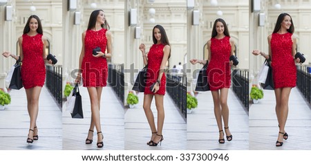 Beautiful young woman in red dress walking in the shop  - stock photo