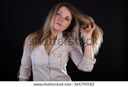 Beautiful young woman in shirt. Portrait. - stock photo
