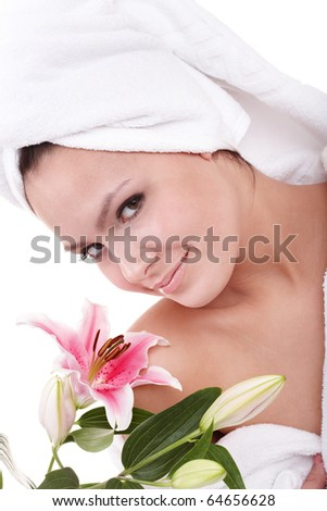 Beautiful young woman in spa. Health and beauty. - stock photo