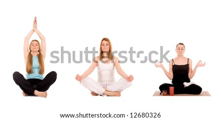 Beautiful young woman in yoga pose. - stock photo