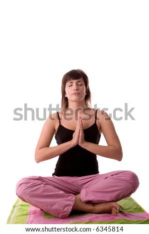 Beautiful young woman in yoga pose. - stock photo