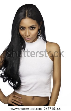 Beautiful young woman isolated against white background - stock photo