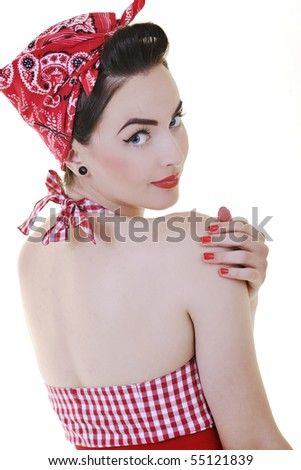 beautiful young woman isolated on white in studio in old fashion clothes representing pinup and retro style