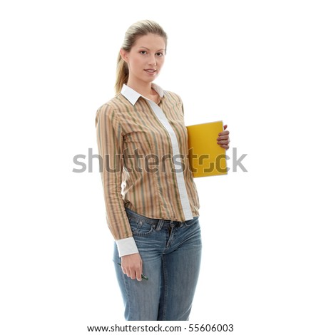 Beautiful young woman. Isolated over white background - stock photo