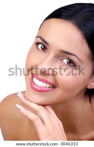 Beautiful young woman laughing . Over white background