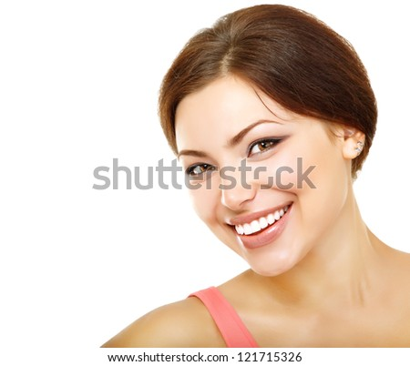 beautiful young woman looking at camera and happy smiling, isolated on white background - stock photo