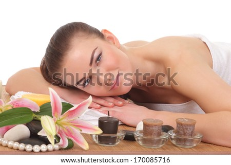 beautiful young woman lying relaxed