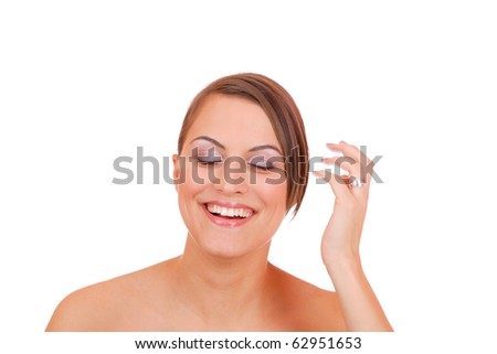 Beautiful young Woman making faces isolated on white background making faces