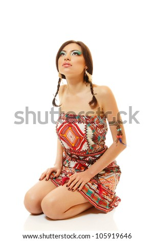 Beautiful young woman native Maya American Indian dressed in national costume, isolated on white background - stock photo