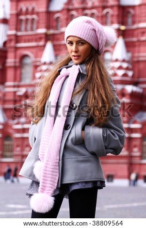 Beautiful young woman next in Red Square, Moscow