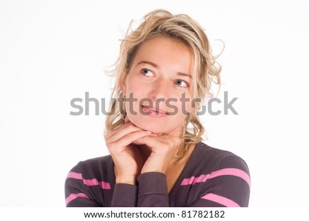 beautiful young woman on a white background - stock photo